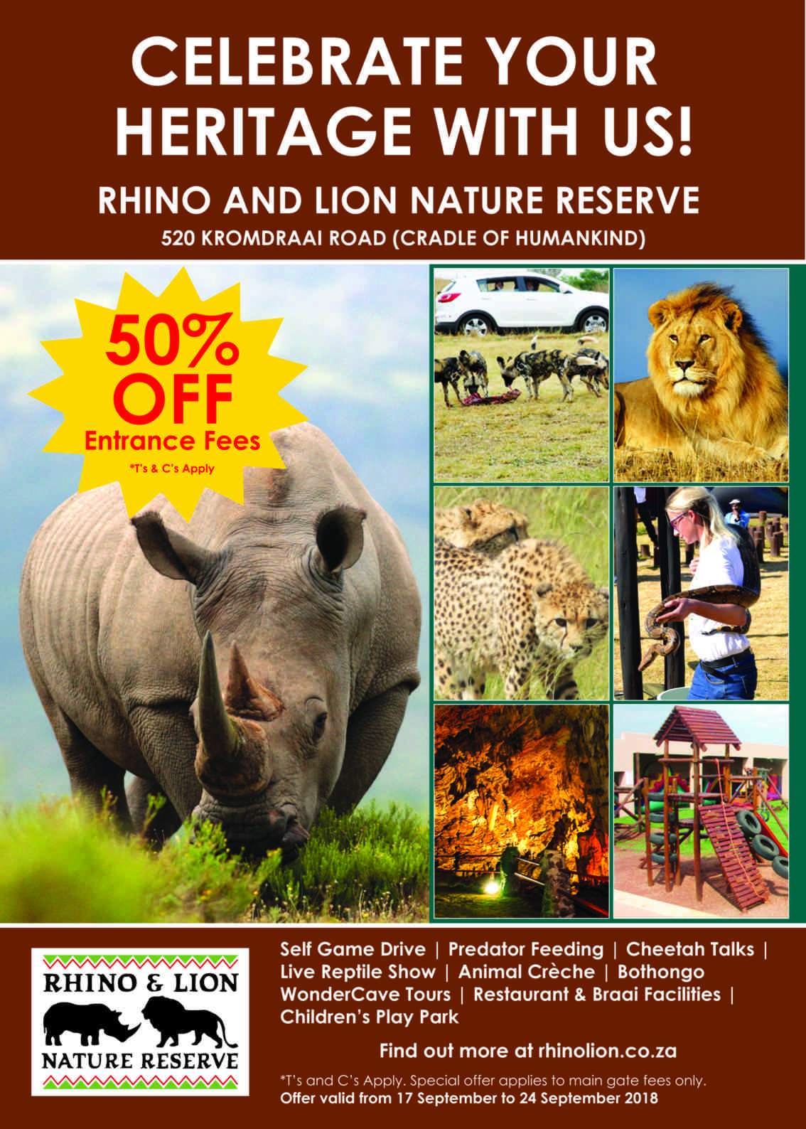 50% off entry fees to honour World Rhino Day and Heritage Day