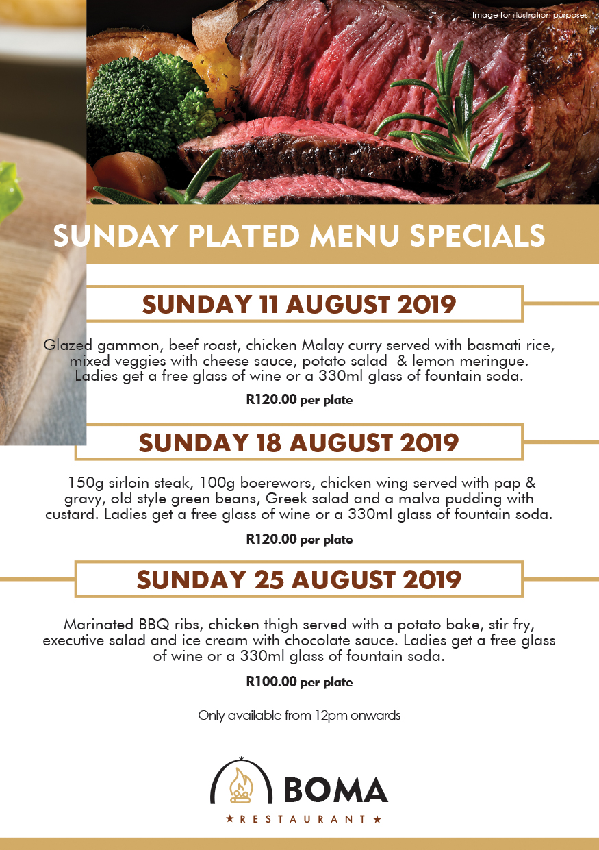 Sunday Plated Specials at the Boma