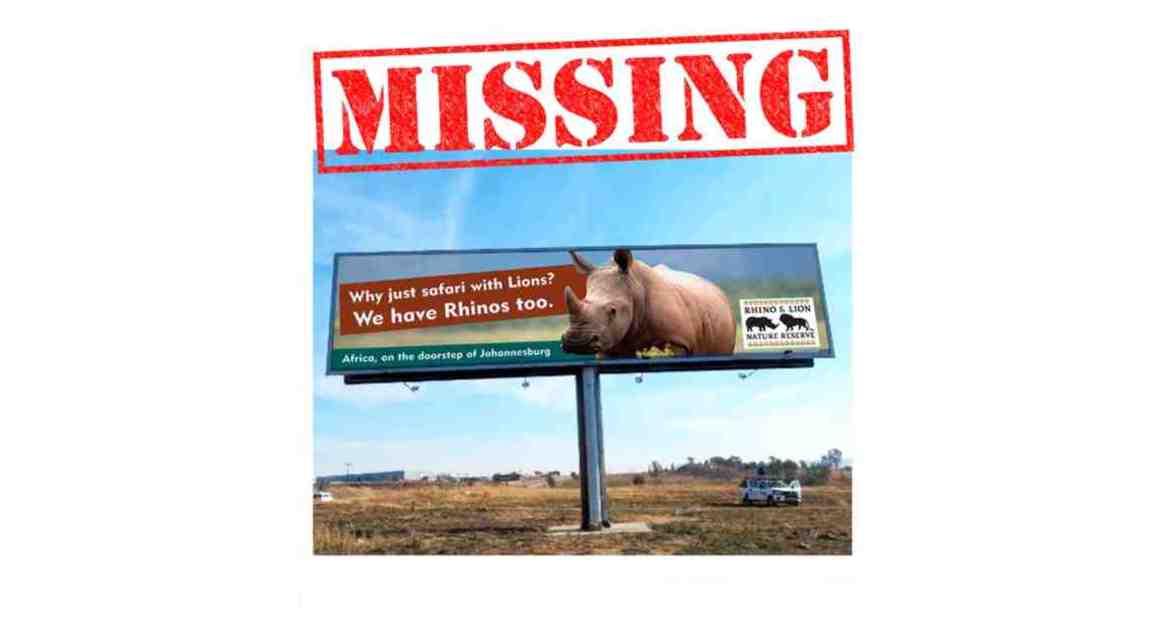 Rhino Lion Billboard Missing