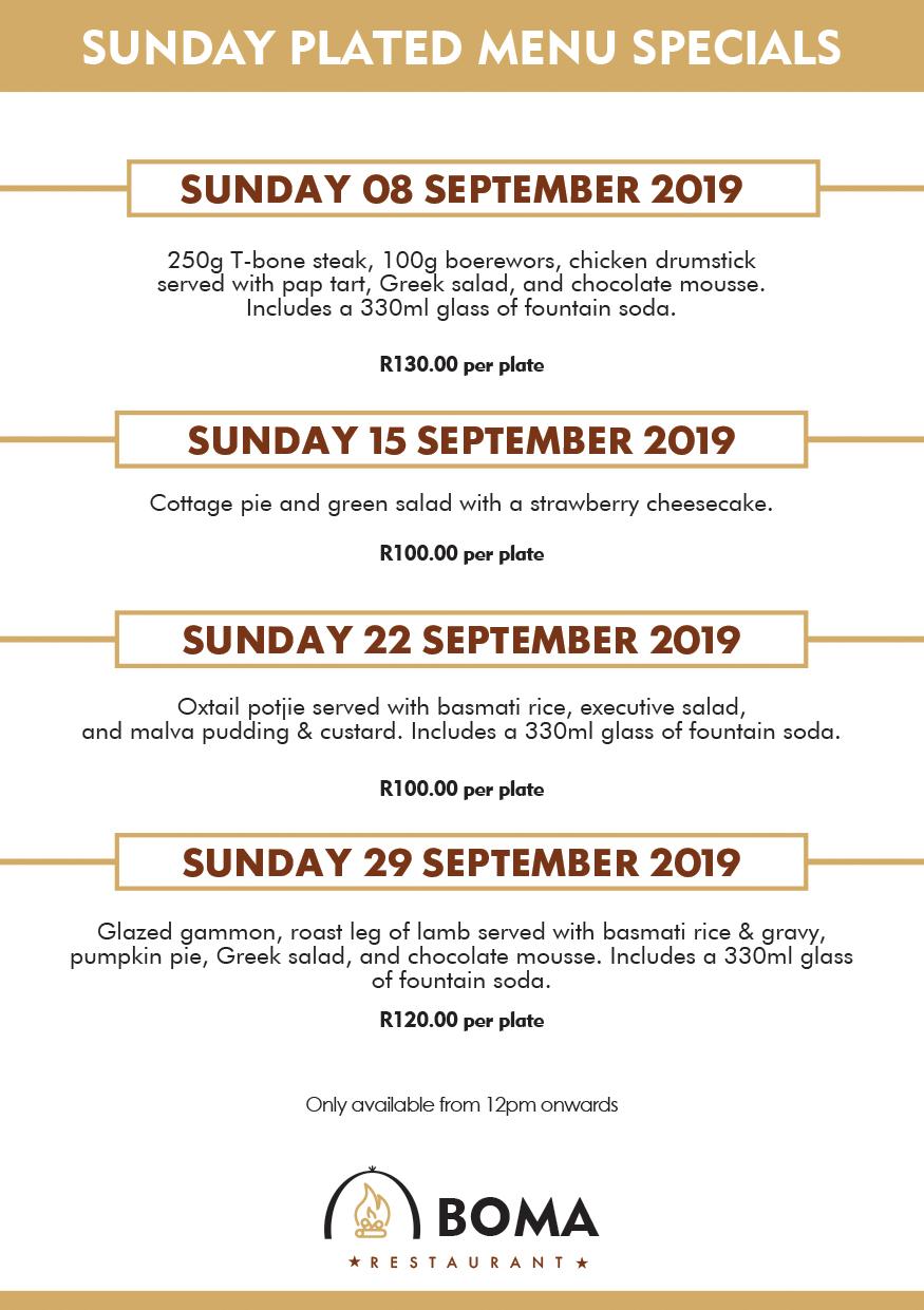 September Sunday Plated Menu Specials Boma Restaurant