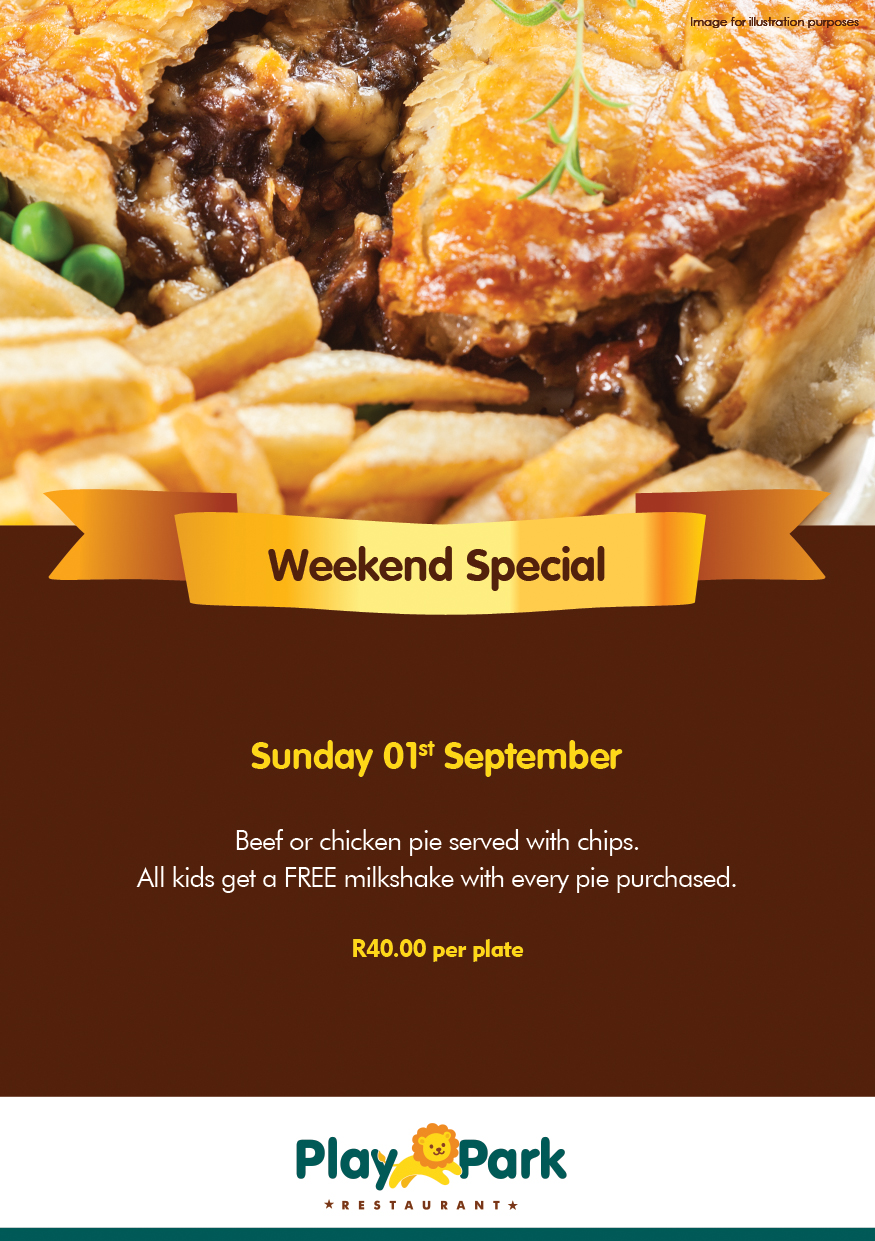 Weekend Special 1st September at the PlayPark Restaurant