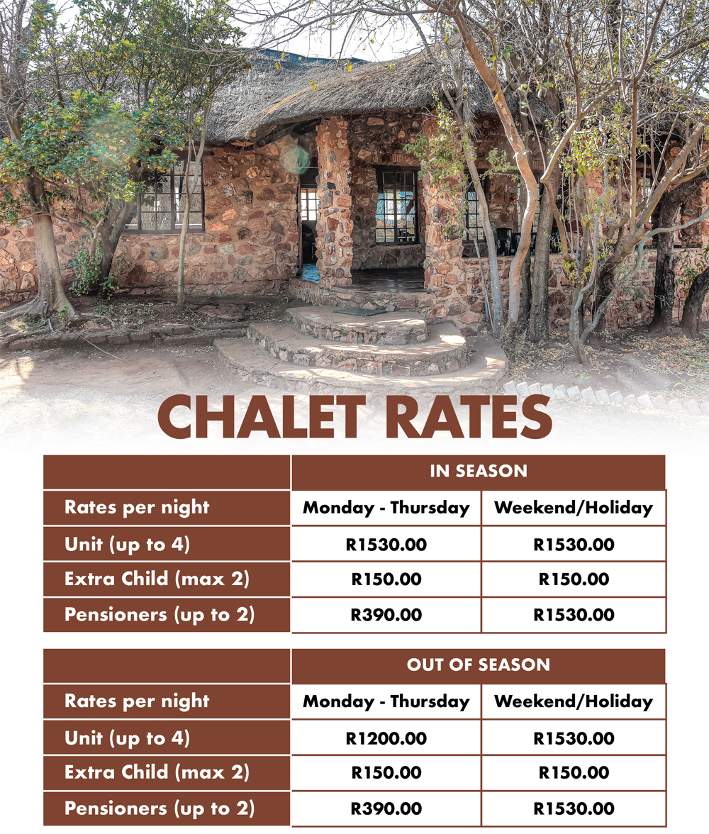 Accommodation our Chalet Rates