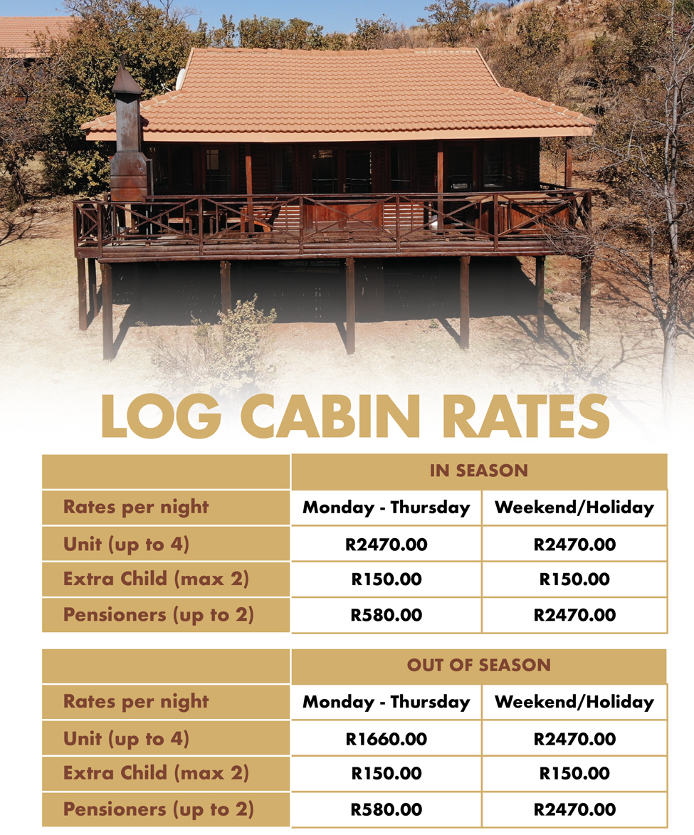 Accommodation our Log Cabin Rates