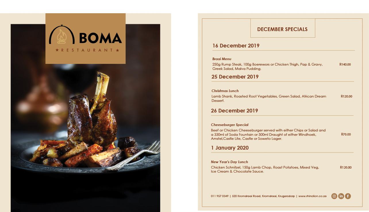 Boma Restaurant December Specials