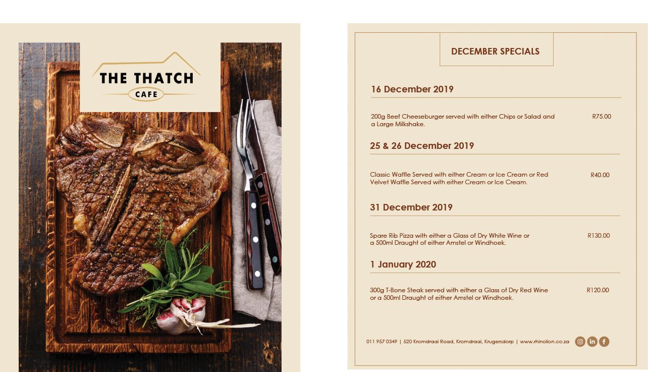 Thatch Cafe December Specials