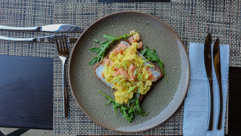 Egg and salmon toast breakfast